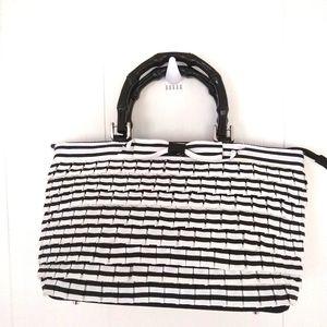 Braciano Handbag Purse satchel Black White silver